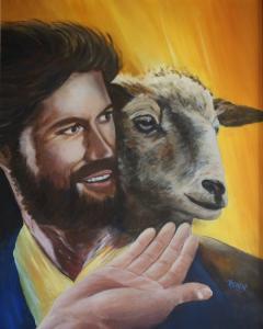 Jezus draagt, olieverf op paneel, 50x60cm