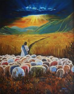 Jezus leidt, olieverf op paneel, 50x60cm
