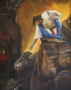 Jezus redt, olieverf op paneel, 50x60cm