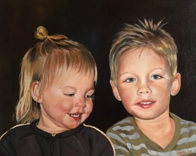 Joppe en Rimke, olieverf op doek, 40x50cm