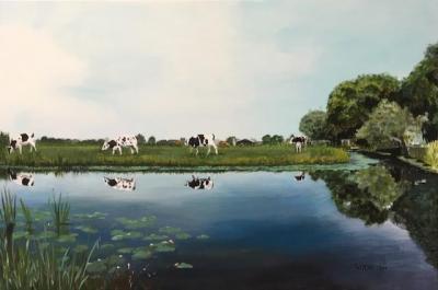 Landschap met koeien, acrylverf op doek, 60x80cm