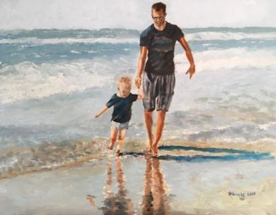 Vader en zoon, olieverf op paneel,18x23cm