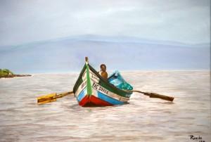 Visser in Kenia, olieverf op doek 30x40cm