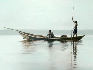 Vissers in Kenia, olieverf op paneel 50x60cm